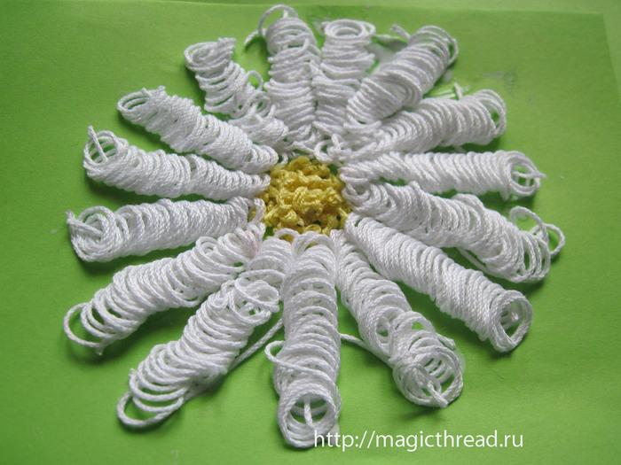 Поделка ромашки из ниток