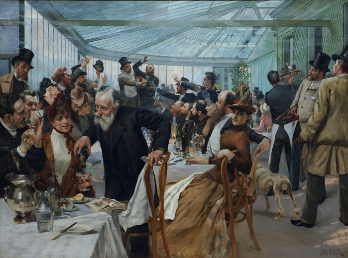 Hugo Birger (1854 - 1887) . Luncheon at Cafe Ledoyen on Varnishing Day,  1886 (700x519, 146Kb)