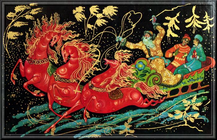 Днем рождения, новогодняя открытка палех