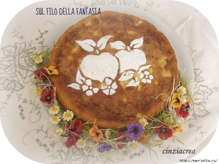 Яблочный пирог. Простой рецепт, но очень оригинальное оформление (10) (700x525, 275Kb)