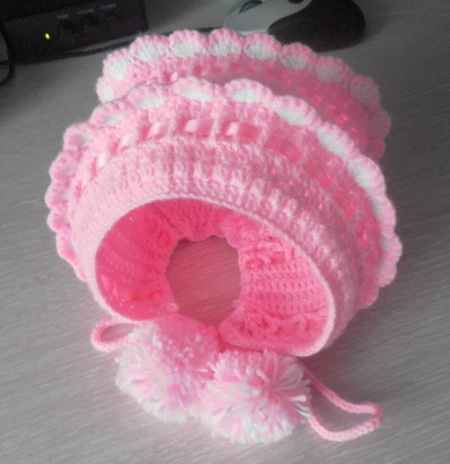 схема вязания спицами чепчика для новорожденного