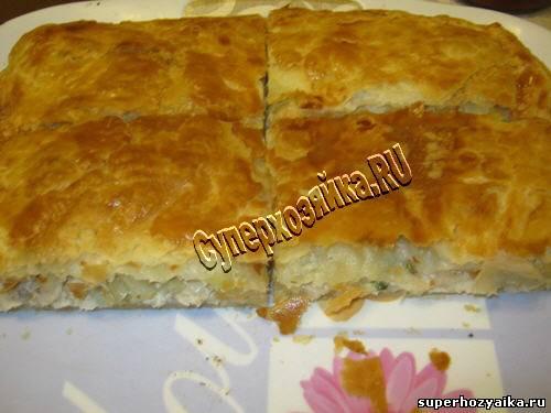 пирог с курицей и картошкой из слоеного дрожжевого теста