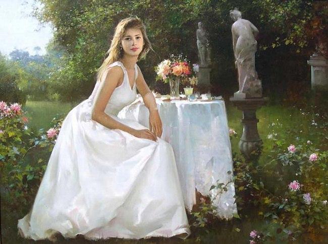 знакомая женщина в белом платье