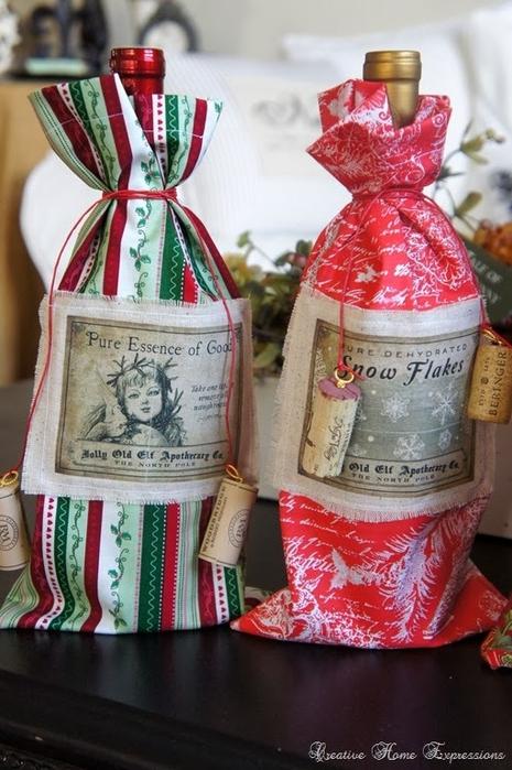 рождественское украшение винных бутылок (14) (465x700, 259Kb)