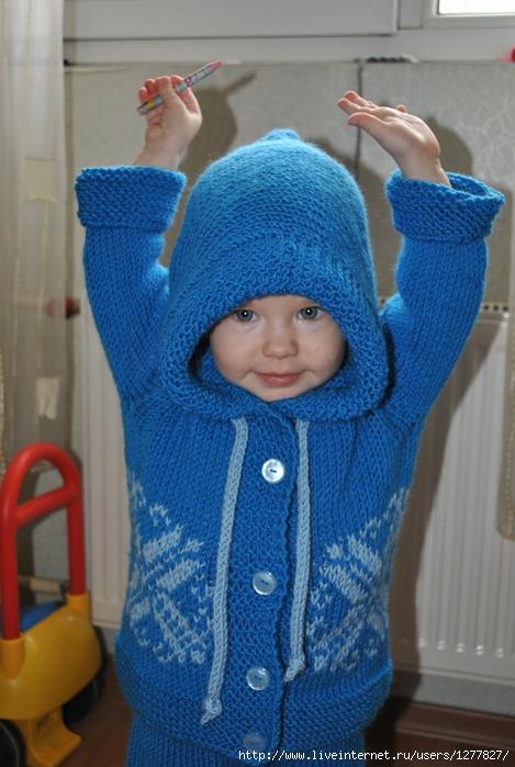 вязаный костюм штанишки и жакет с капюшоном на мальчика 15 2 года