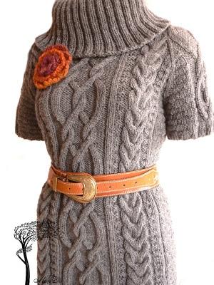 вязание спицами платье спицами косы и араны по мотивам кельтских