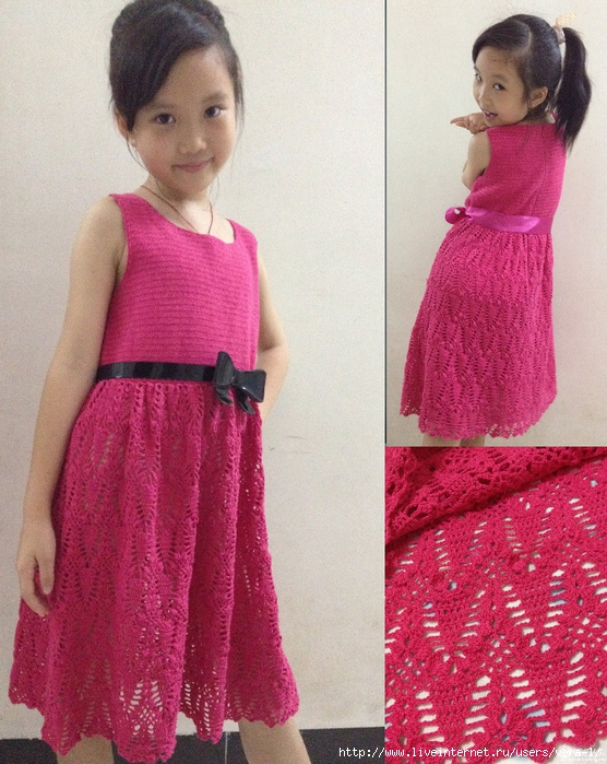 Вязание летнего платья для девочек 541
