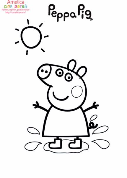 забавные раскраски с любимыми героями мультфильма свинка