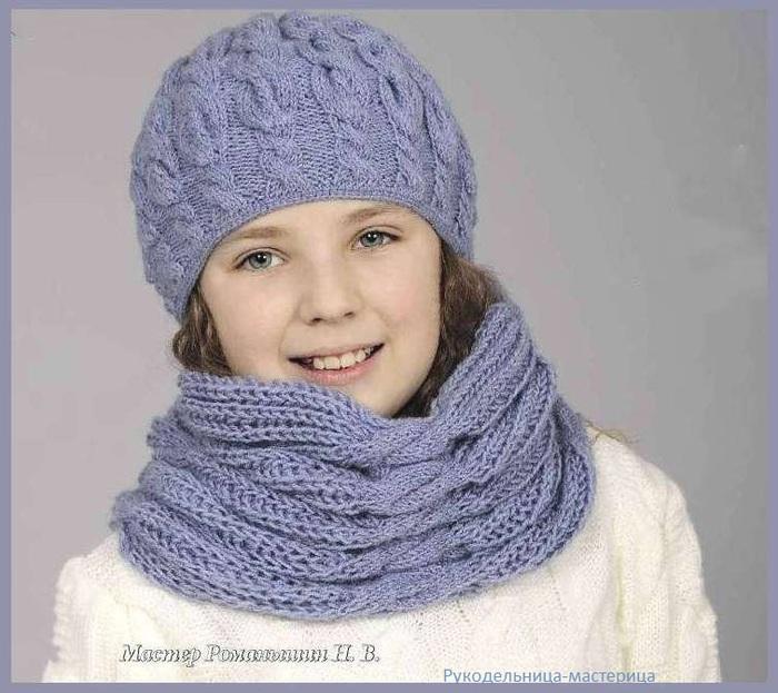 голубой комплект шапка шарф вязание спицами обсуждение на