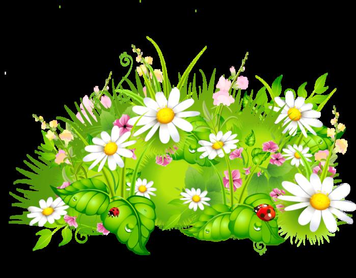 Полянка с цветами рисунок