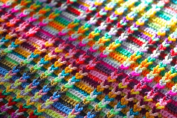 вязание коврика из остатков пряжи Nevashamasharu