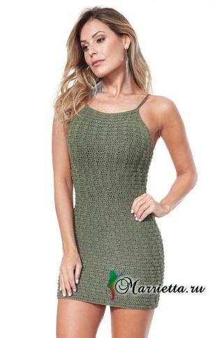 Вязаное крючком платье на бретельках. Схема (2) (308x485, 105Kb)