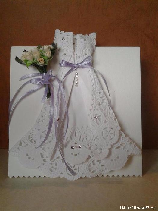 Открытка, открытка из ажурной салфетки платье