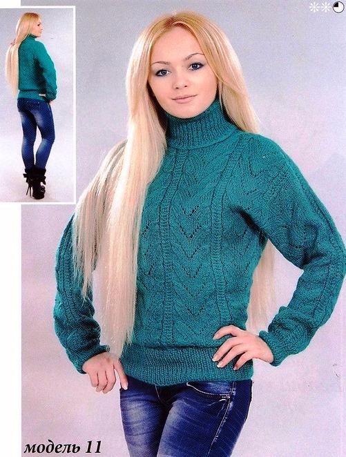 Вязание спицами свитер женский с высоким воротником