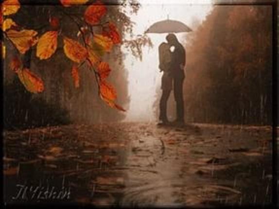 Осень влюбленные под зонтом гиф