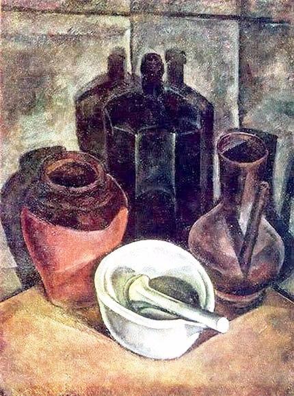 18 Александр Осмёркин «Натюрморт с бутылью и фарфоровой ступкой» 1918 г (430x578, 256Kb)