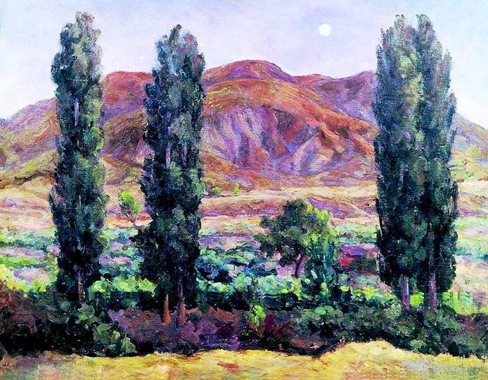 27 Александр Осмёркин «Крым. Козы. Вечер. Тополя» 1938 (700x544, 540Kb)