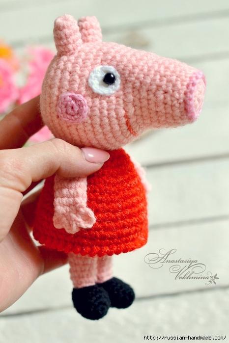 вязание крючком маленькой свинки пеппи Russian Handmade