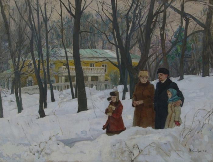 Слета А. - Ленин и Крупская в парке (1967) (700x533, 353Kb)