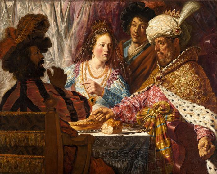 2 Пир Эсфири, 1625 г. Художнику было всего 18 лет, поэтому здесь сильное влияние Питера Ластмана, как и ранних работах Рембрандта. (700x561, 203Kb)