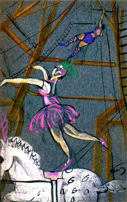 1924-1926 В цирке. Цветная бумага, тушь, гуашь, кисть. 24х15,7 см. (439x700, 157Kb)