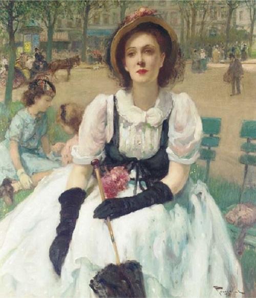 Femme ?l?gante au parc, Paris (500x580, 114Kb)