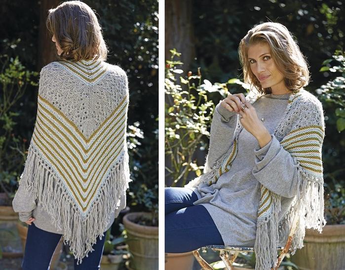 Ажурно-полосатая шаль спицами