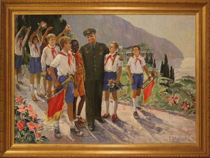 Цветкова Валентина Петровна (1917-2007) - Космонавт Юрий Гагарин с детьми  1977 (700x528, 408Kb)