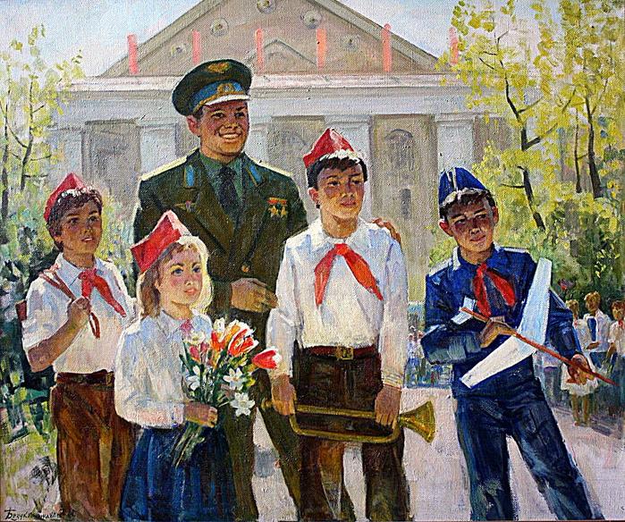 Безукладников Герман Александрович (1928 - 2009) - Ю.Гагарин-с-пионерами-в-Щелково-2003 (700x584, 691Kb)