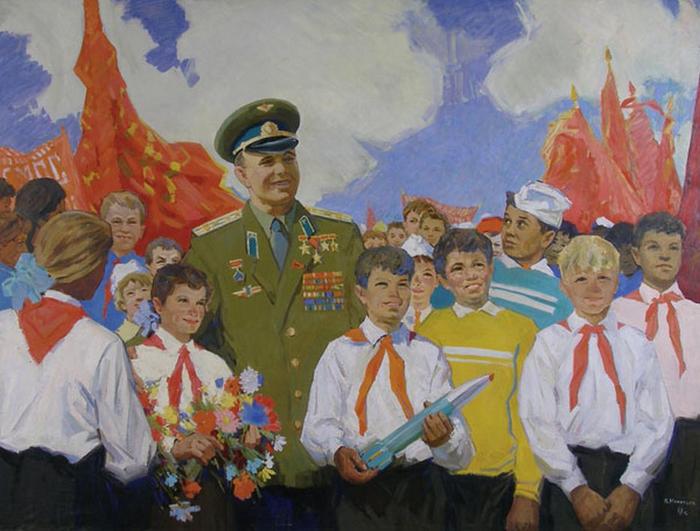 Игнатьев Петр Михайлович (1923 -  ) -  Гагарин с детьми (1968) (700x531, 380Kb)