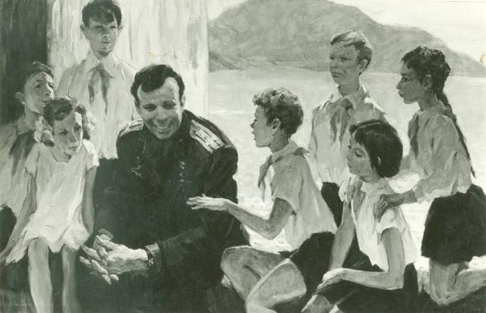Суворова А.П. - Гагарин с пионерами в Артеке (1971) (700x450, 198Kb)