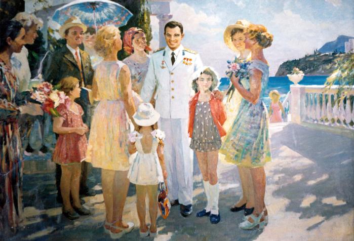 Цветкова Валентина Петровна (1917 - 2007) - Гагарин в Алуште (700x476, 483Kb)