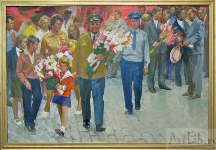 Сорока Аркадий Васильевич (1921 - 2010) - Ю.Гагарин и В.Терешкова на Красной площади (1973) (700x485, 376Kb)