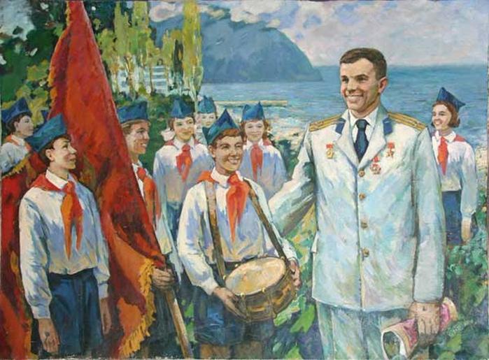 Неизвестный художник - Гагарин в Артеке (700x515, 415Kb)