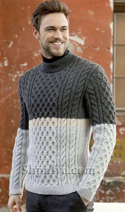 1b35b36f742 Серый мужской свитер с аранами. Обсуждение на LiveInternet ...