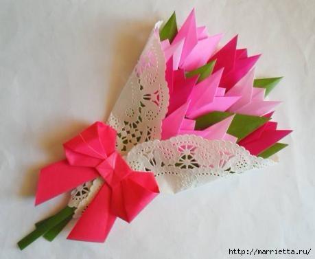 65b8afecdbef Букет тюльпанов из бумаги в технике оригами. Обсуждение на ...