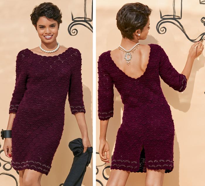Ажурное платье с декольте.