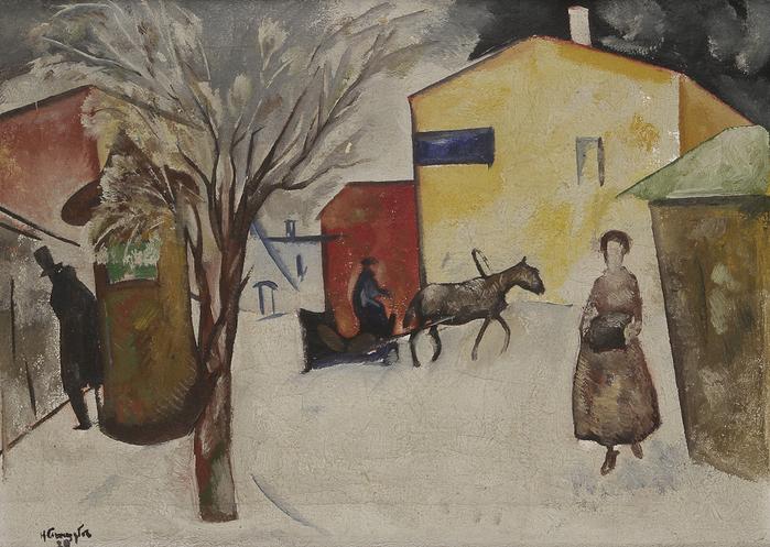 1920 Пейзаж (Снег в городе). Х, м. 44 x 61,5 см. Аукцион (700x497, 400Kb)