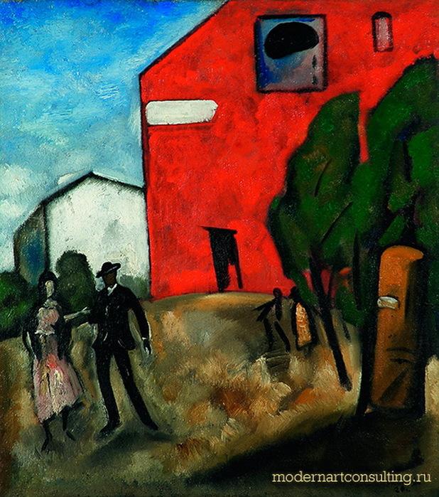 1920 Синий день (Красный дом). Х, м, 53 x 46 см. ЯХМ (618x700, 190Kb)