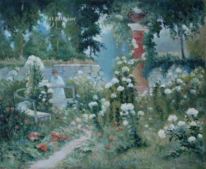 1920-е Сад белых гортензий. Картон, темпера, 35,5х43,5 см. ЧС, Москва (700x574, 130Kb)