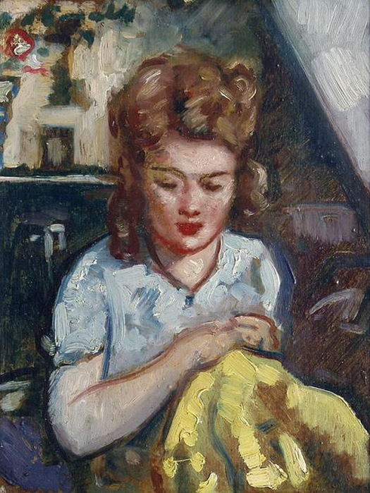 1934 Женский портрет. Картон, масло. 26х24 см. Частное собрание. (525x700, 155Kb)