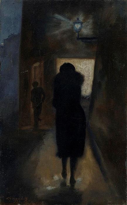 1933 Тёмная улица. Х, м. 50х31,5 см. ЧС (434x700, 106Kb)