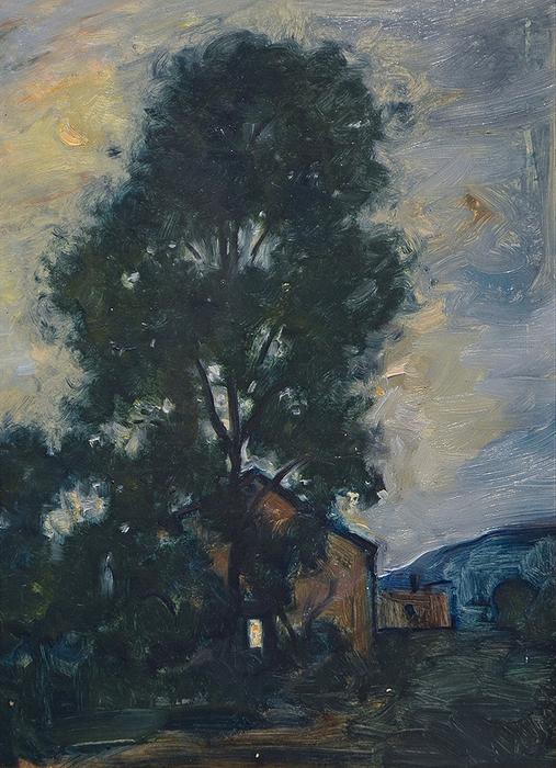 1930 Пейзаж с деревом. Картон, масло. 33х24 см. ф (507x700, 447Kb)