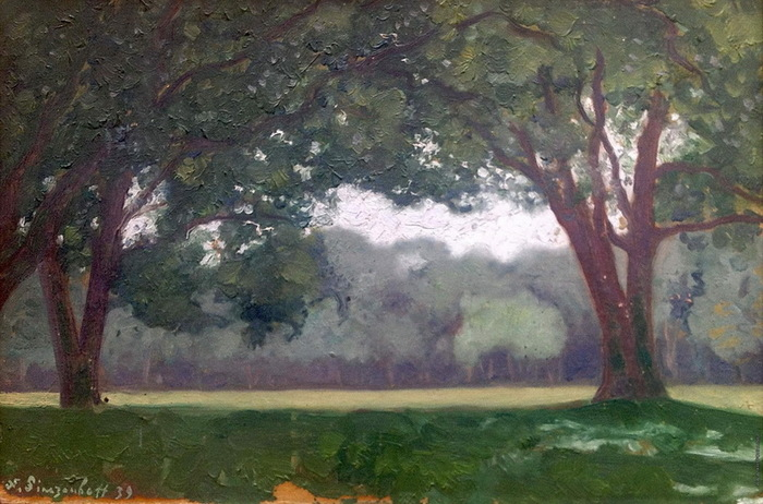 1939 Венсенский лес. Утро. Картон, масло. 24х35 см. ЧС (700x462, 133Kb)