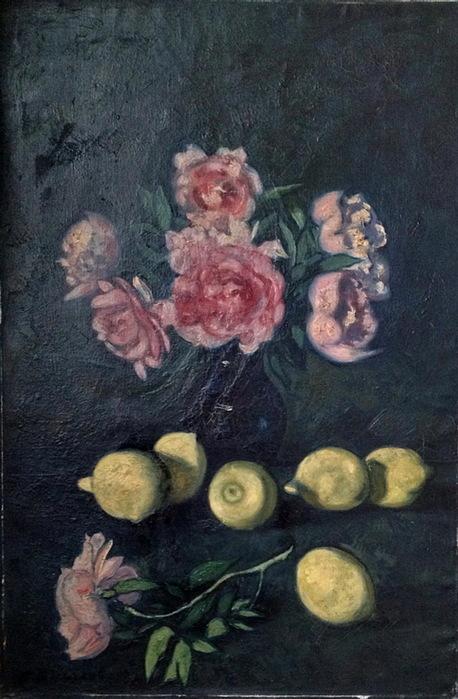 1930-е Натюрморт с розами и лимонами (Аукцион) (458x700, 122Kb)