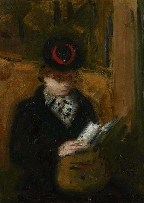 1943 Женщина читает в метро.  Х, м. 33,5х24 см. ЧС (495x700, 92Kb)