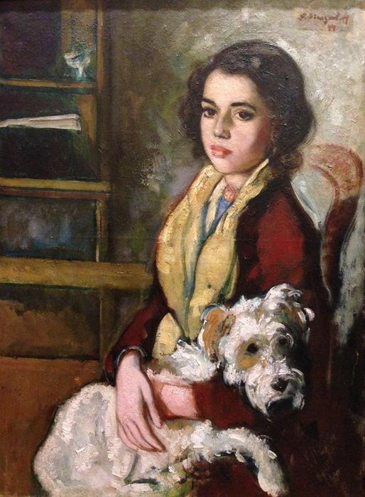 1944 Девушка с собакой. 72,5х53 см. ЧС (514x700, 137Kb)