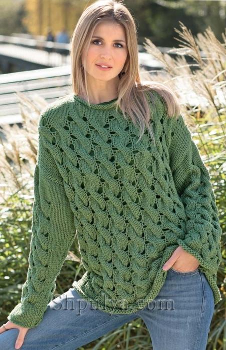 8b3f8a81220e Зеленый пуловер с узором из «кос». Обсуждение на LiveInternet ...