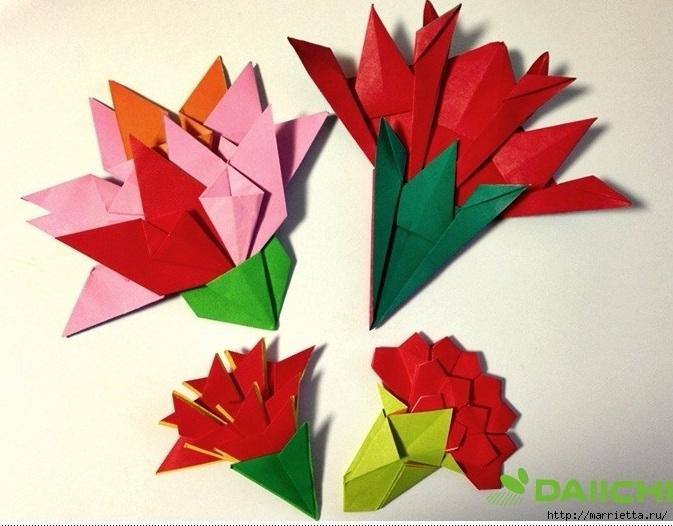 c216f609126e ... Букет гвоздик из бумаги в технике оригами (1) (673x526, ...