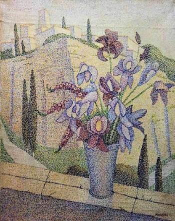 Paysage au bouquet de fleurs (350x442, 181Kb)